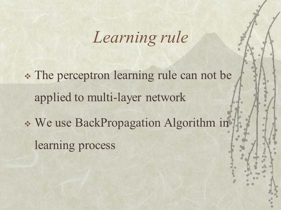 Learning rule The perceptron learning rule can not be applied to multi-layer network.