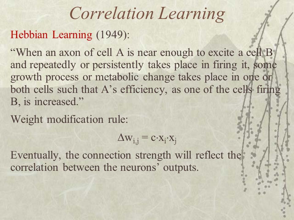 Correlation Learning Hebbian Learning (1949):
