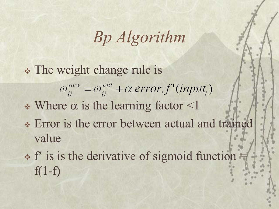 Bp Algorithm The weight change rule is