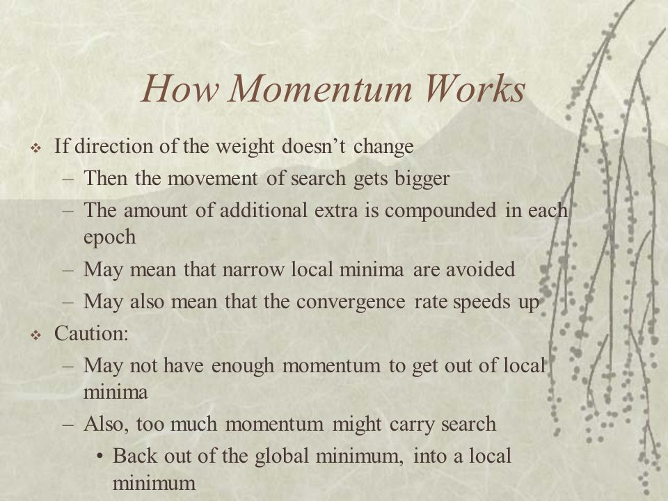 How Momentum Works If direction of the weight doesn't change