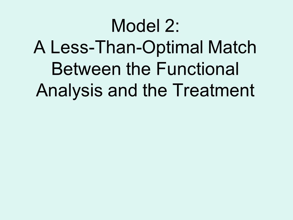 Model 2: A Less-Than-Optimal Match Between the Functional Analysis and the Treatment