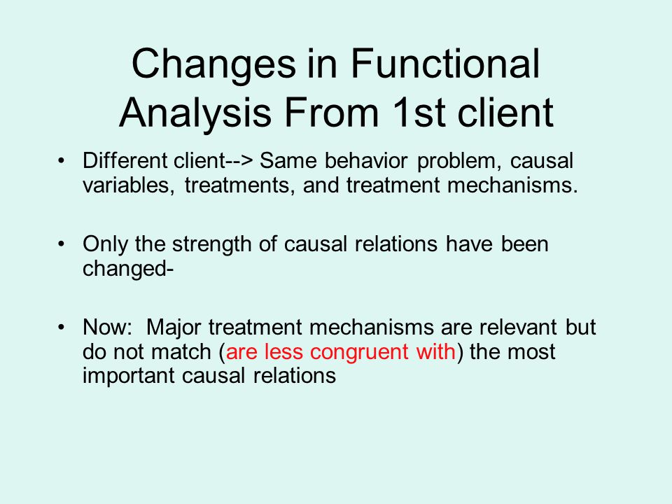 Changes in Functional Analysis From 1st client