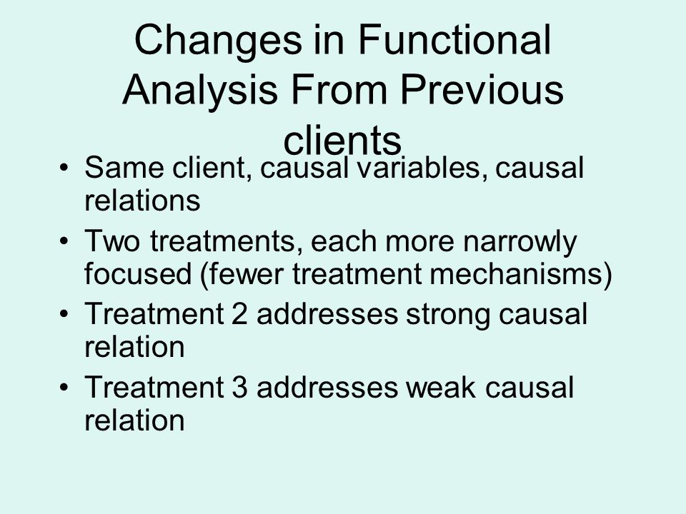 Changes in Functional Analysis From Previous clients