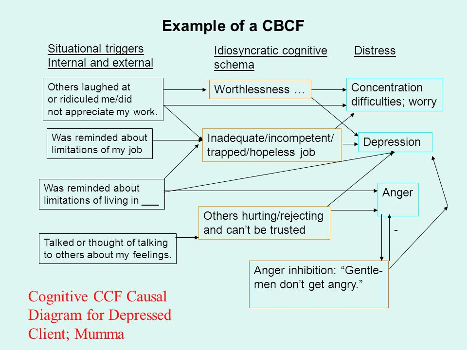 Cognitive CCF Causal Diagram for Depressed Client; Mumma