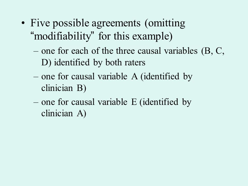 Five possible agreements (omitting modifiability for this example)