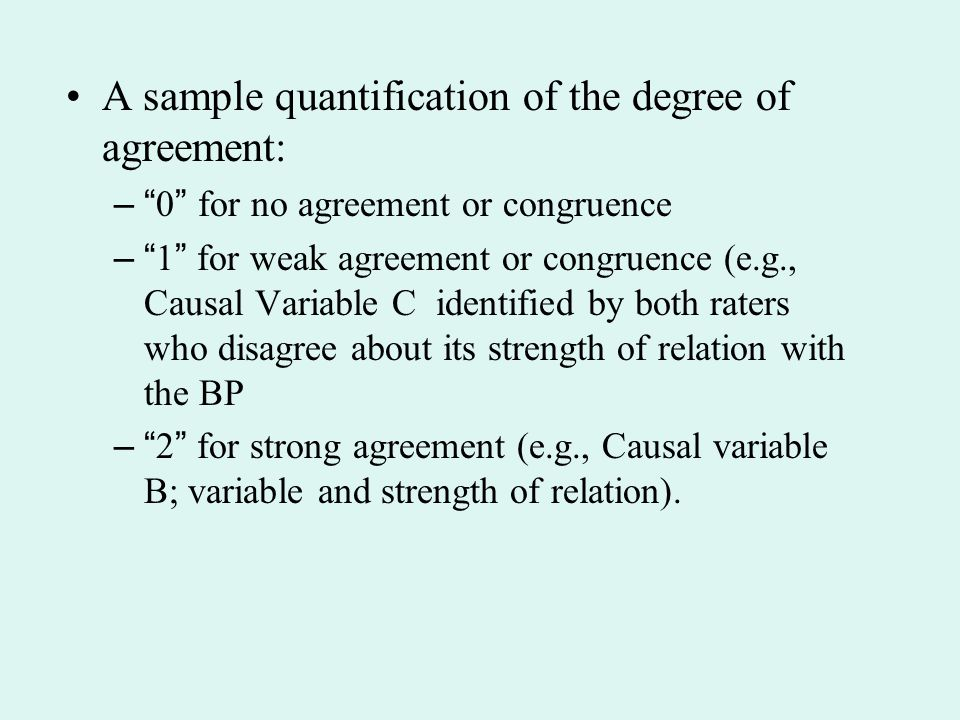 A sample quantification of the degree of agreement: