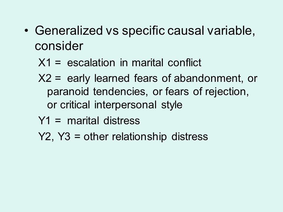 Generalized vs specific causal variable, consider