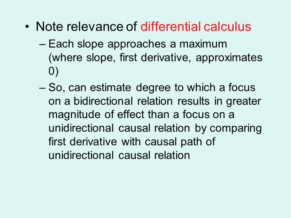 Note relevance of differential calculus