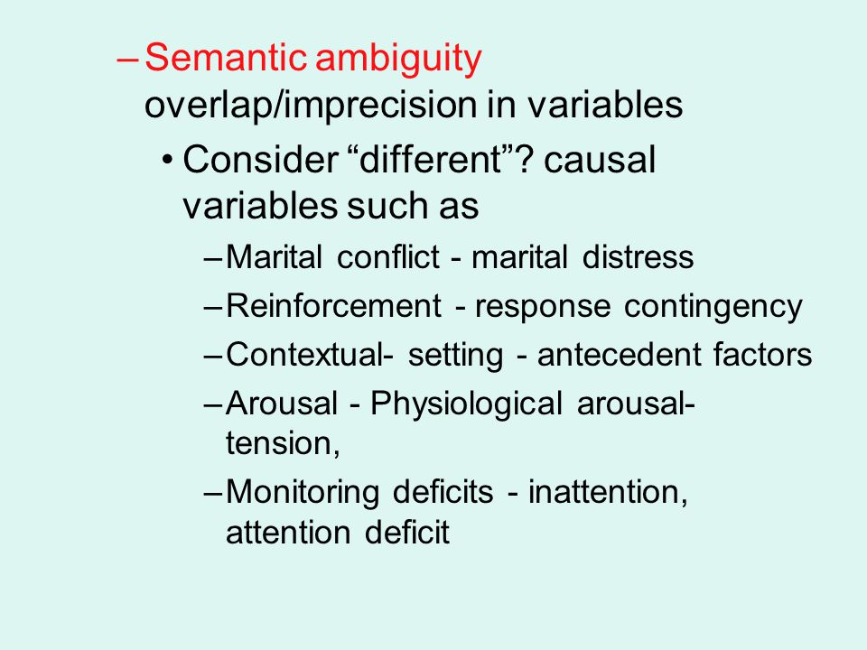 Semantic ambiguity overlap/imprecision in variables