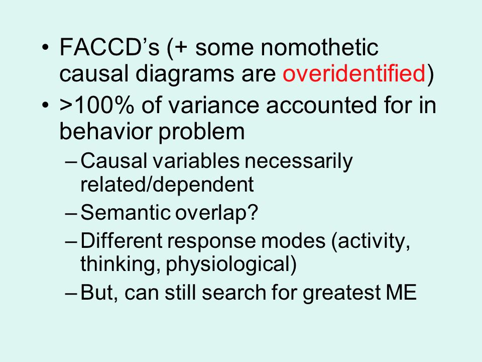 FACCD's (+ some nomothetic causal diagrams are overidentified)