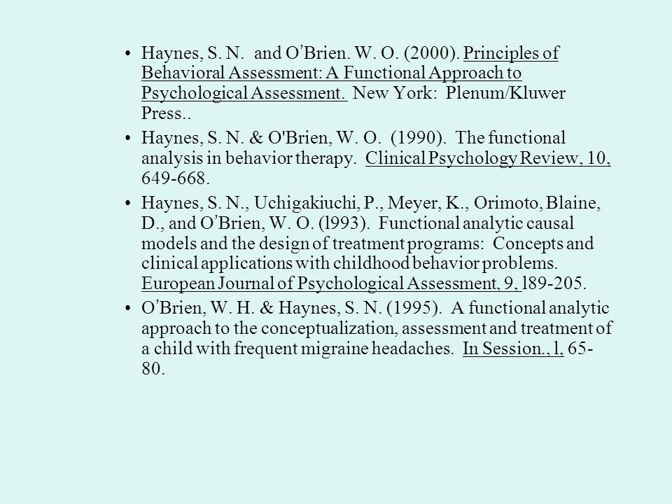 Haynes, S. N. and O'Brien. W. O. (2000)