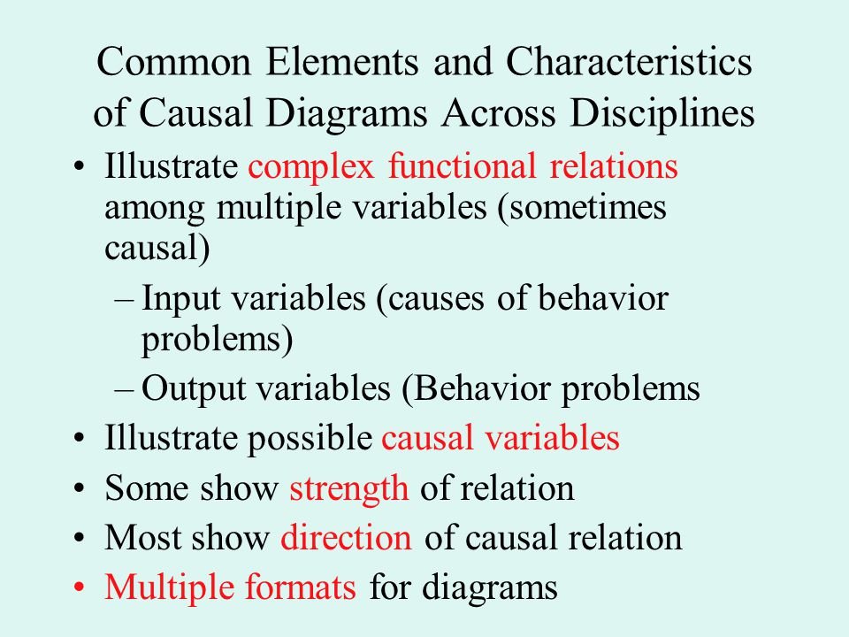 Common Elements and Characteristics of Causal Diagrams Across Disciplines