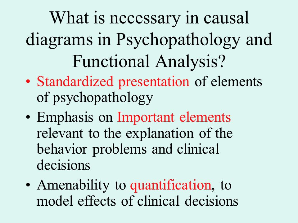 What is necessary in causal diagrams in Psychopathology and Functional Analysis