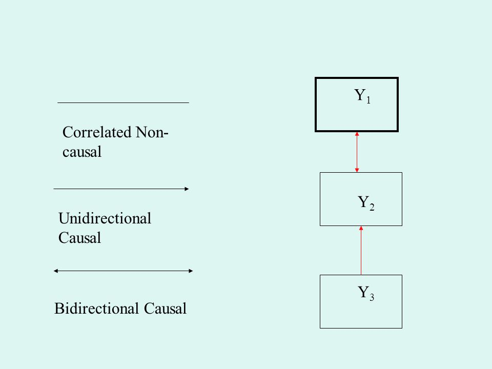 Y1 Correlated Non-causal Y2 Unidirectional Causal Y3 Bidirectional Causal