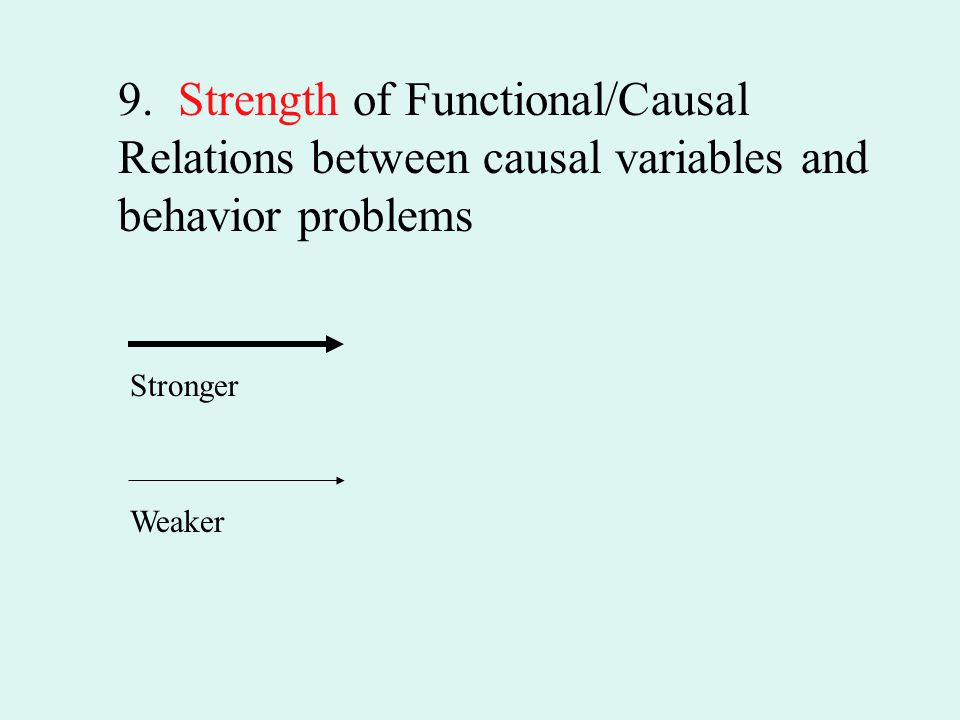 9. Strength of Functional/Causal Relations between causal variables and behavior problems