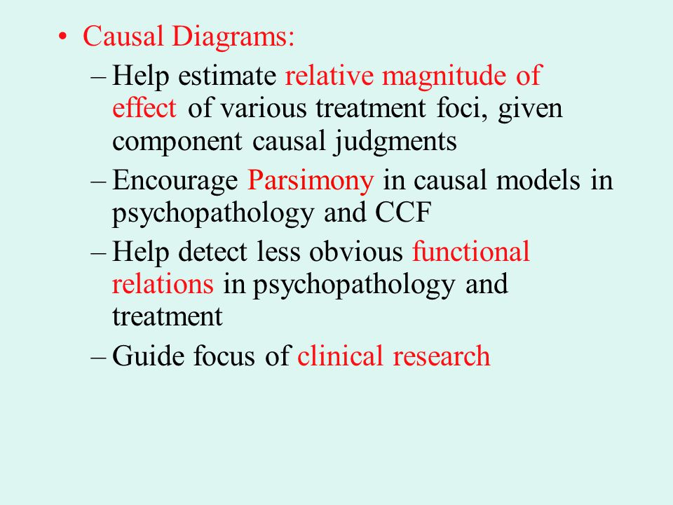 Causal Diagrams: Help estimate relative magnitude of effect of various treatment foci, given component causal judgments.