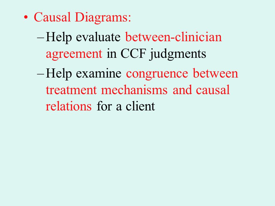 Causal Diagrams: Help evaluate between-clinician agreement in CCF judgments.