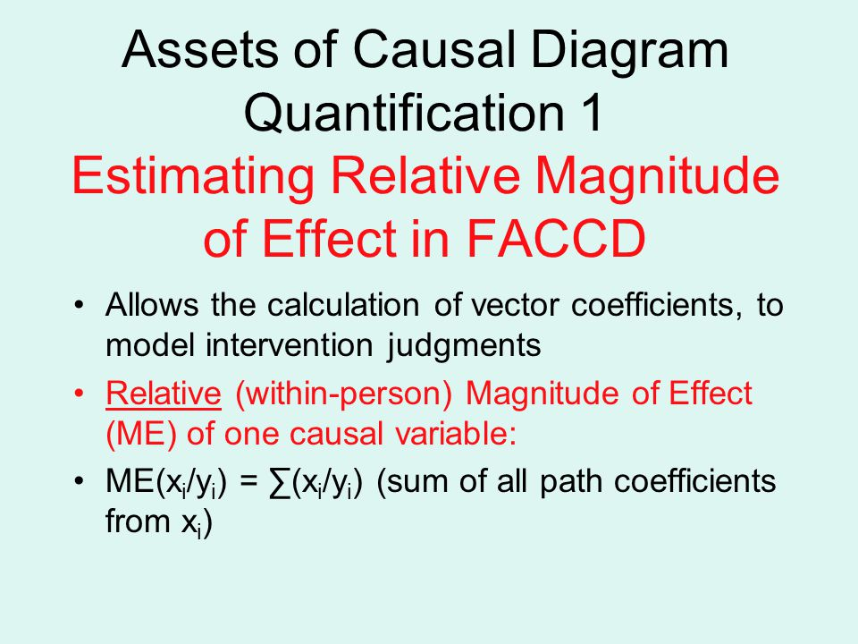 Assets of Causal Diagram Quantification 1 Estimating Relative Magnitude of Effect in FACCD