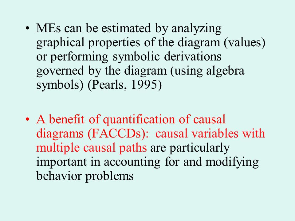 MEs can be estimated by analyzing graphical properties of the diagram (values) or performing symbolic derivations governed by the diagram (using algebra symbols) (Pearls, 1995)