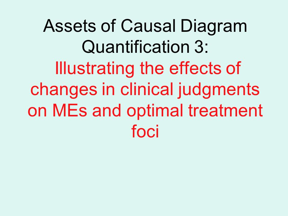 Assets of Causal Diagram Quantification 3: Illustrating the effects of changes in clinical judgments on MEs and optimal treatment foci