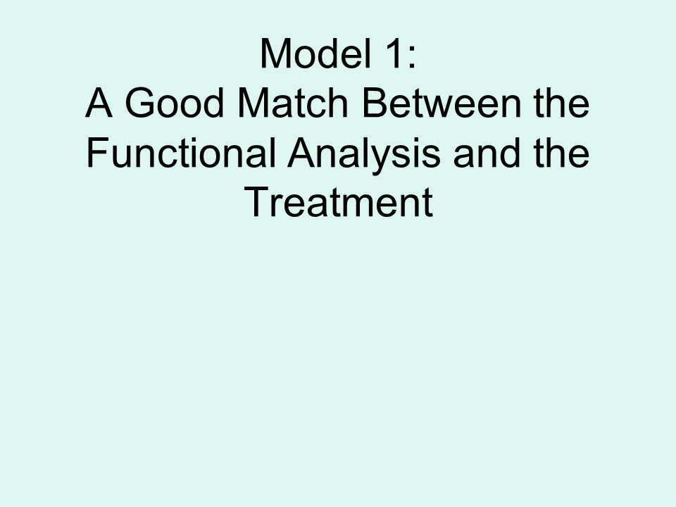 Model 1: A Good Match Between the Functional Analysis and the Treatment
