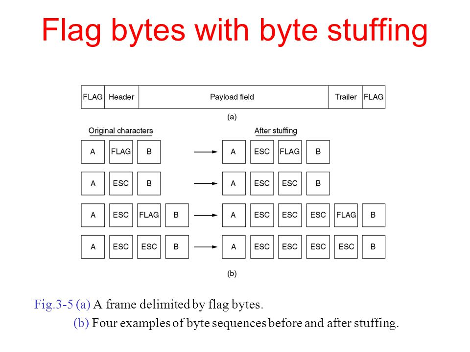 Flag bytes with byte stuffing