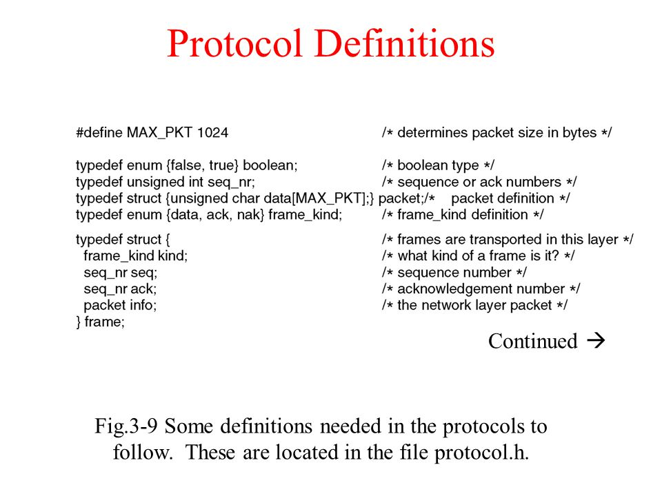 Protocol Definitions Continued 