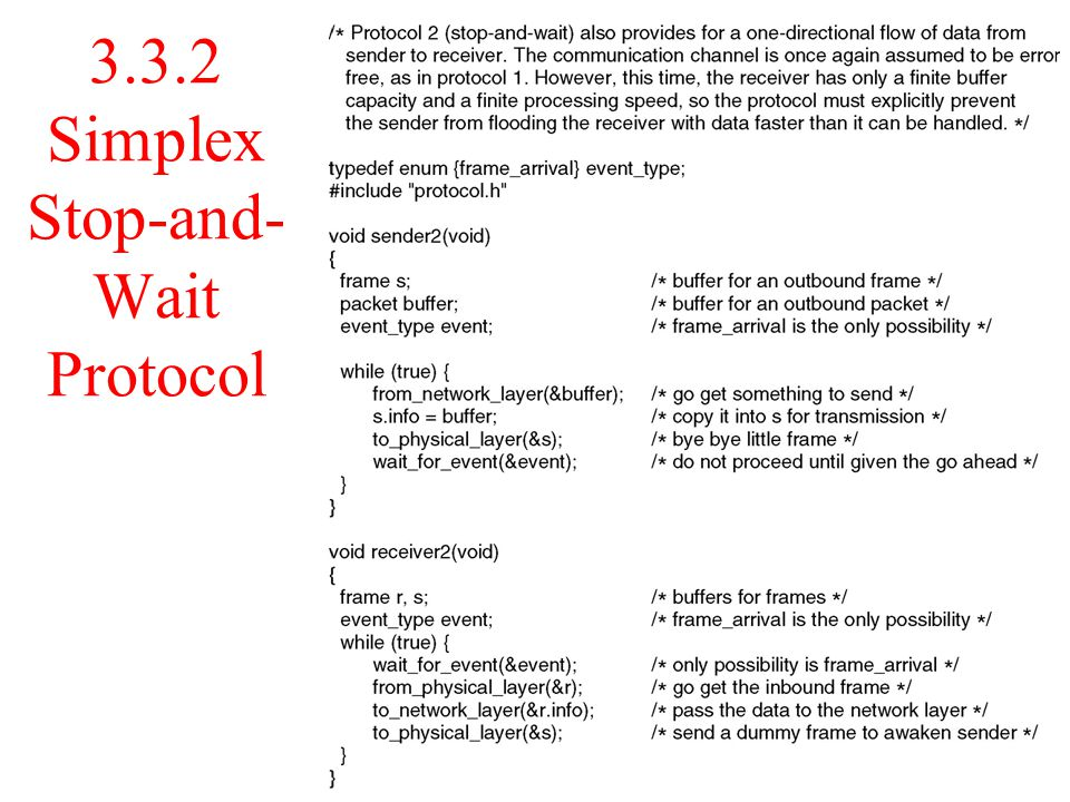 3.3.2 Simplex Stop-and-Wait Protocol