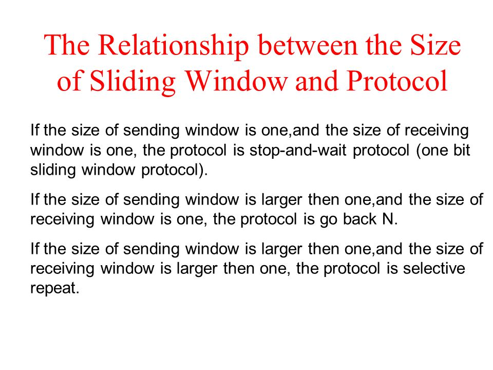 The Relationship between the Size of Sliding Window and Protocol