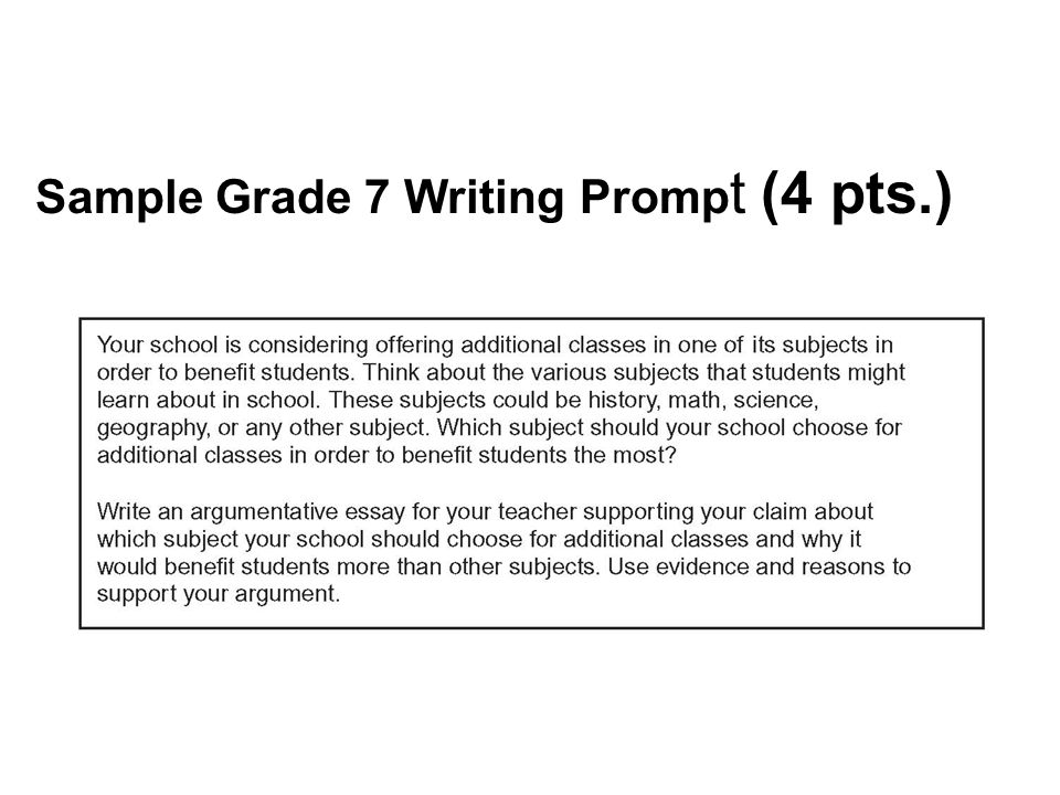 Sample Grade 7 Writing Prompt (4 pts.)