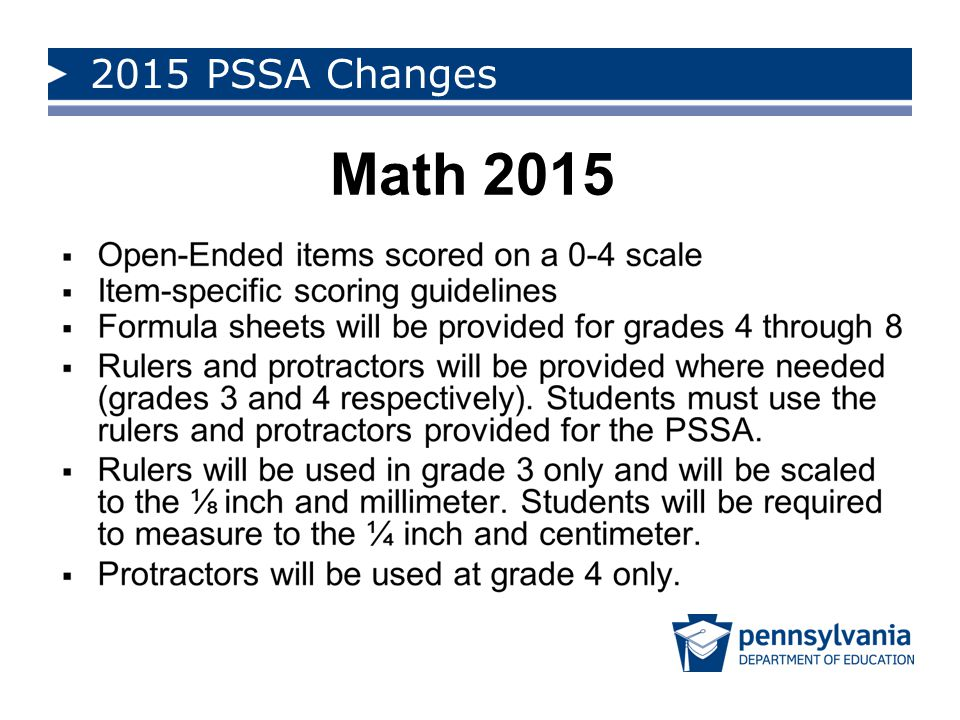 2015 PSSA Changes Math 2015