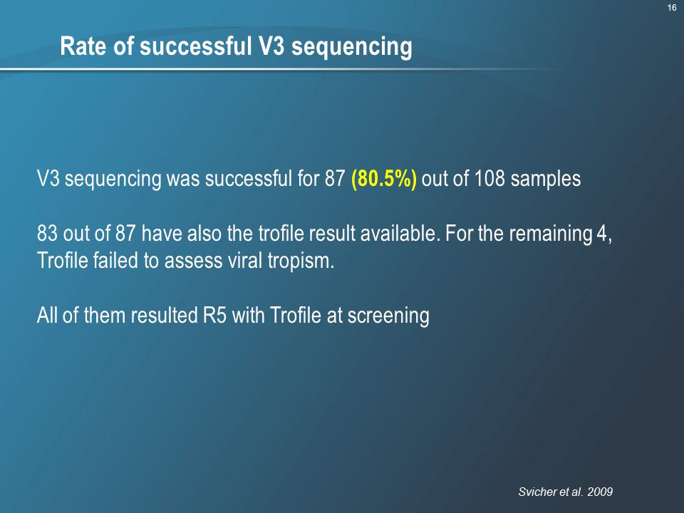 Rate of successful V3 sequencing