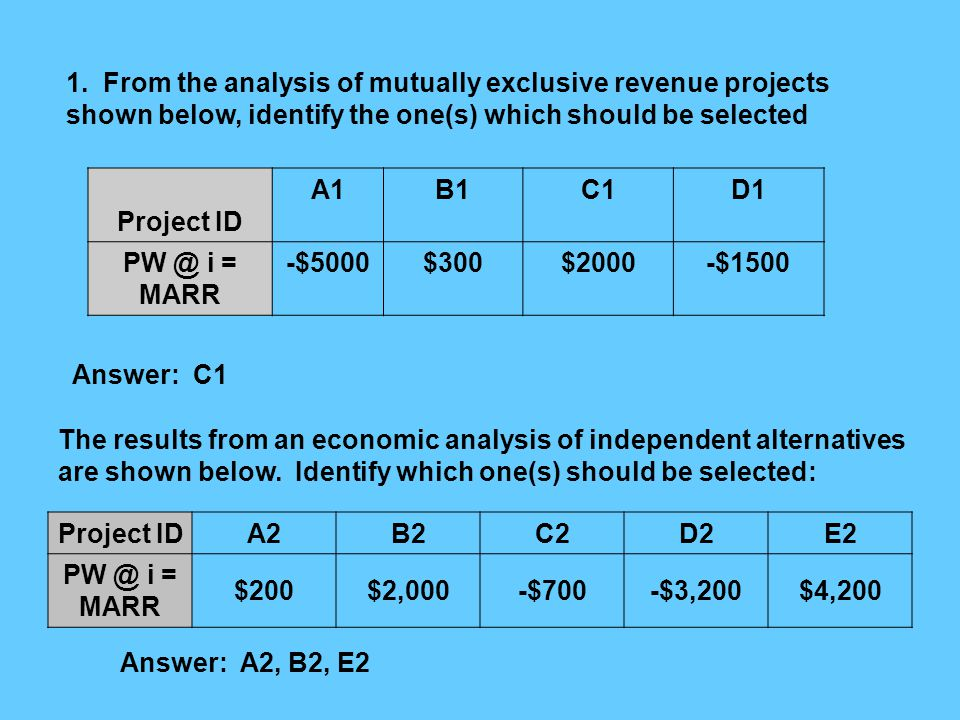 1. From the analysis of mutually exclusive revenue projects shown below, identify the one(s) which should be selected