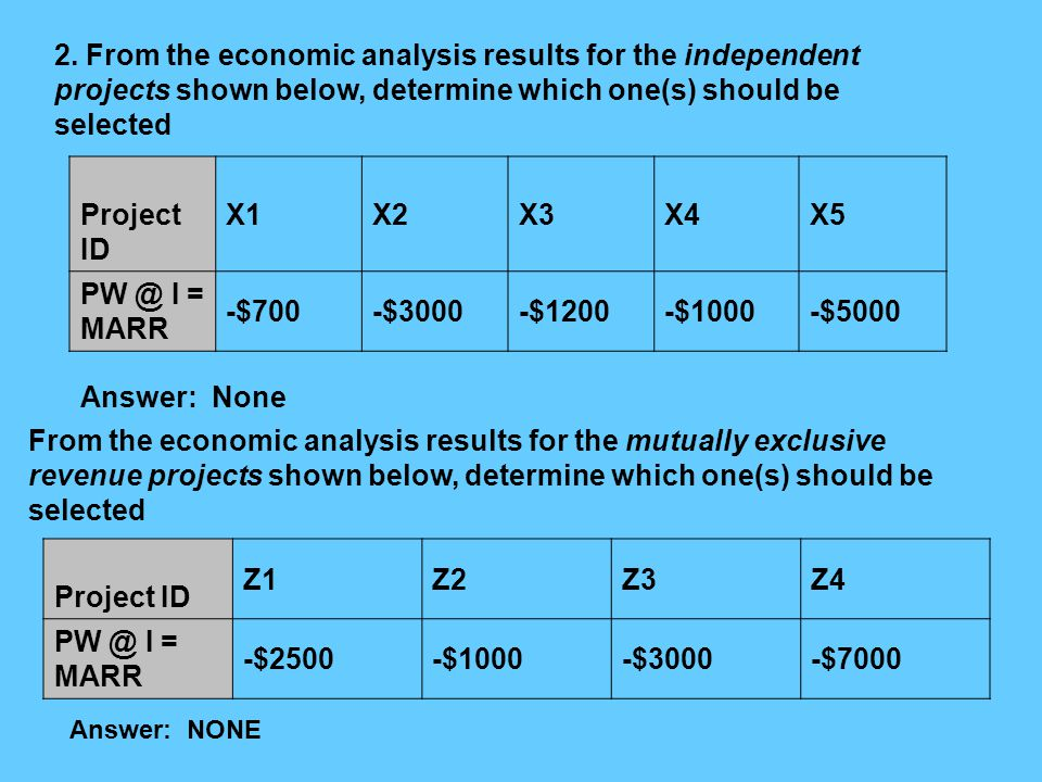 2. From the economic analysis results for the independent projects shown below, determine which one(s) should be selected