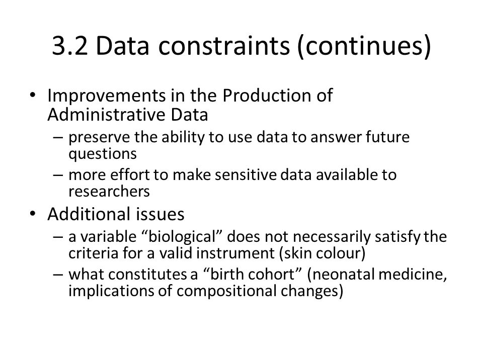 3.2 Data constraints (continues)