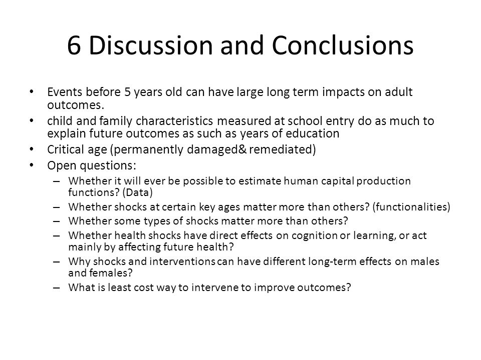 6 Discussion and Conclusions