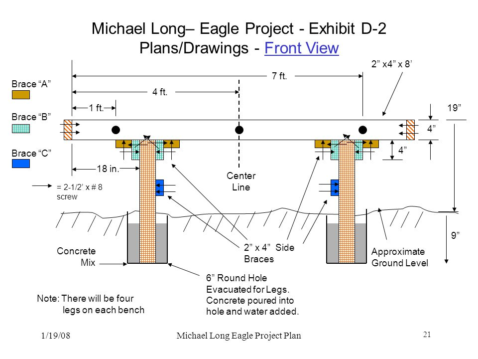 Michael Long– Eagle Project - Exhibit D-2 Plans/Drawings - Front View