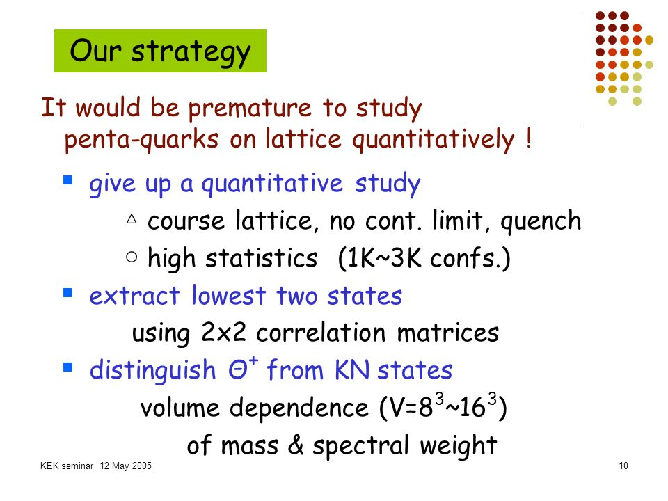 Our strategy It would be premature to study
