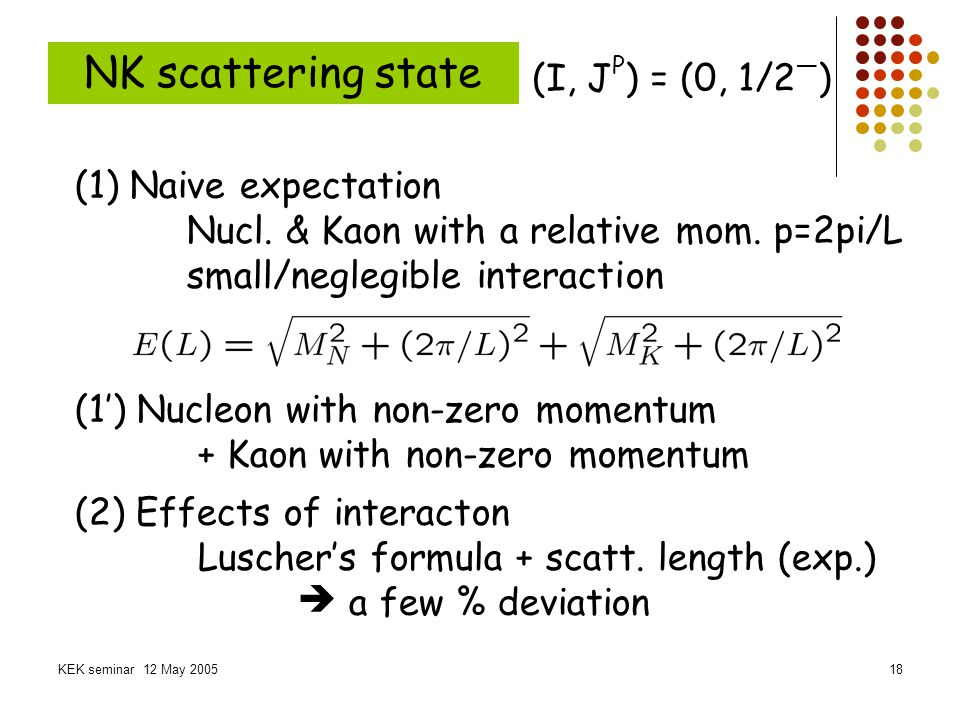 NK scattering state (I, JP) = (0, 1/2—) (1) Naive expectation