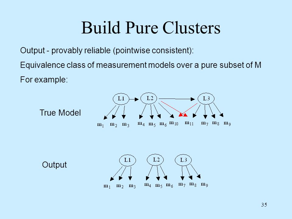 Build Pure Clusters Output - provably reliable (pointwise consistent):