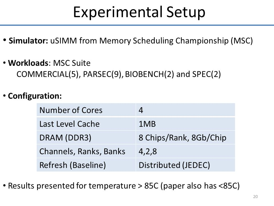 Experimental Setup Simulator: uSIMM from Memory Scheduling Championship (MSC) Workloads: MSC Suite.