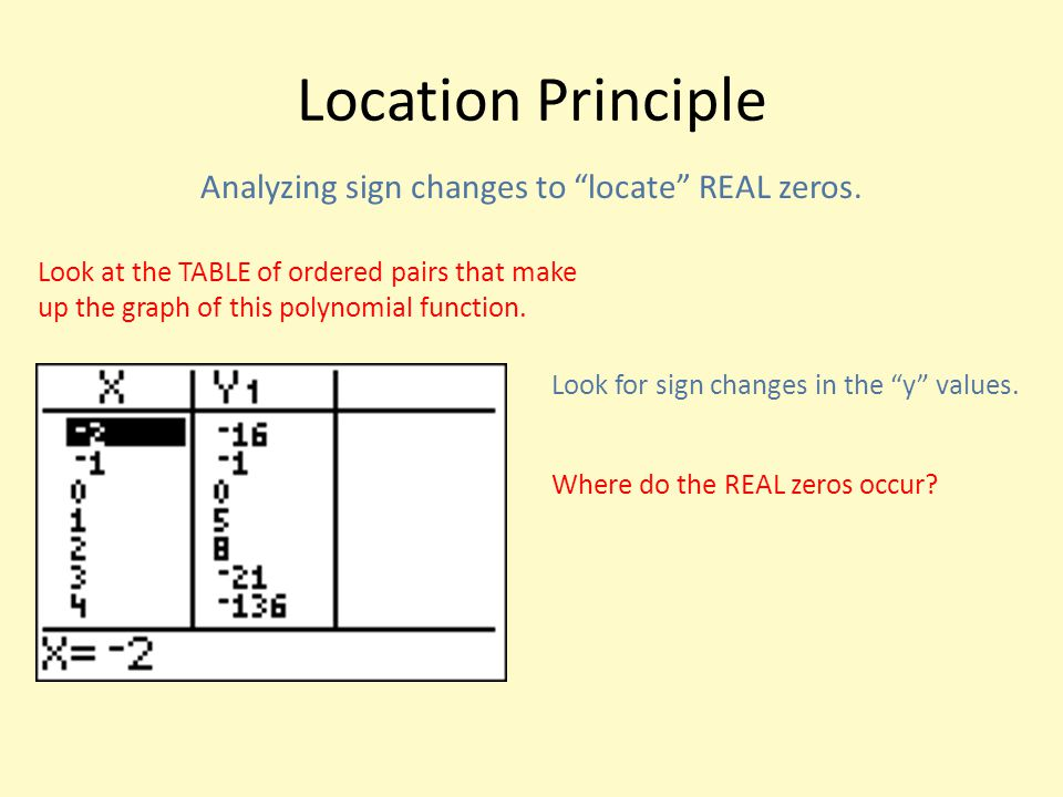 Analyzing sign changes to locate REAL zeros.