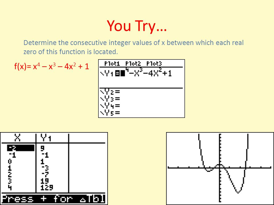 You Try… Determine the consecutive integer values of x between which each real zero of this function is located.