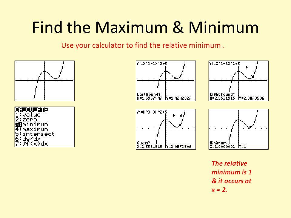 Find the Maximum & Minimum
