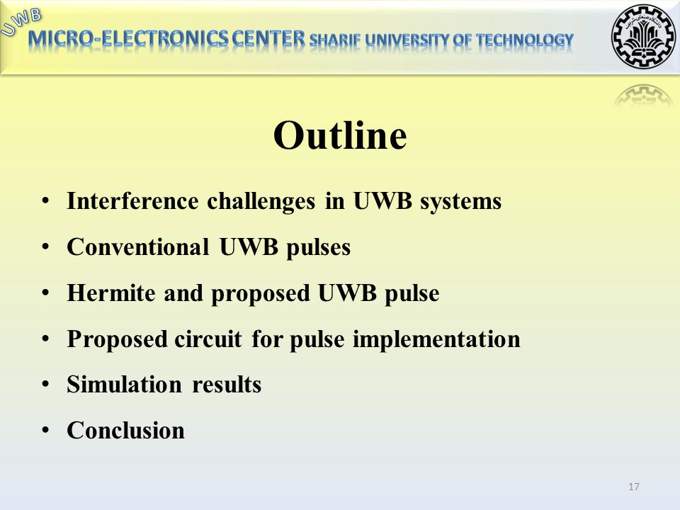 Outline Interference challenges in UWB systems Conventional UWB pulses
