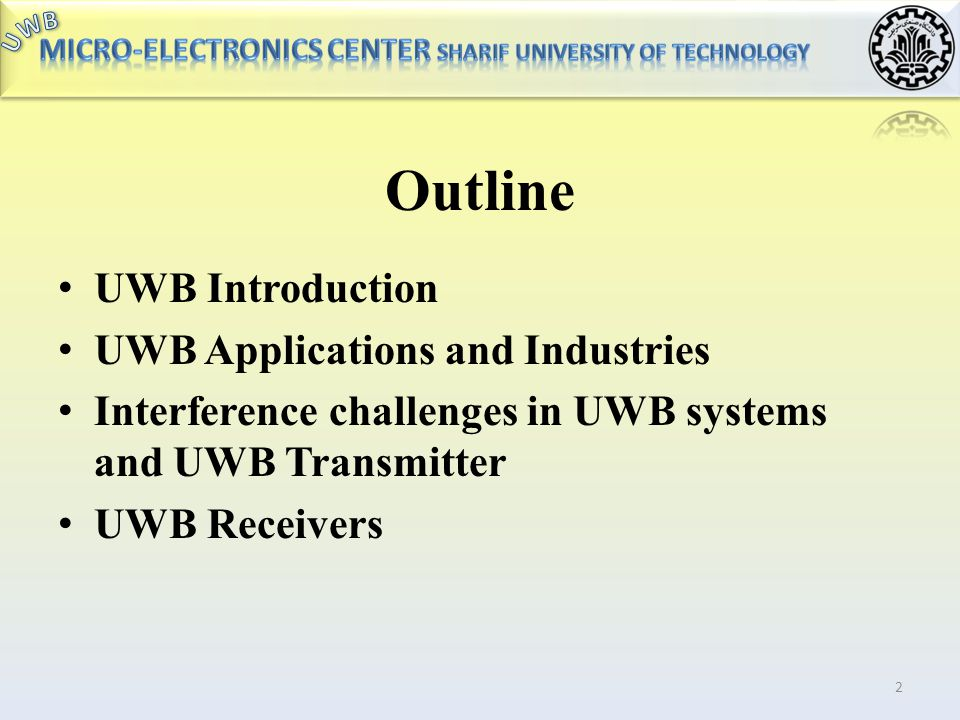 Outline UWB Introduction UWB Applications and Industries
