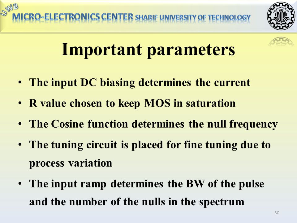 Important parameters The input DC biasing determines the current