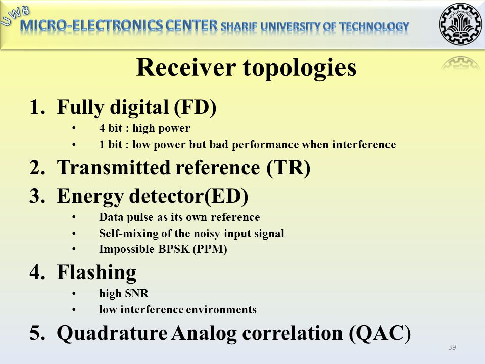 Receiver topologies Fully digital (FD) Transmitted reference (TR)