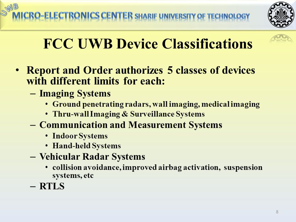 FCC UWB Device Classifications