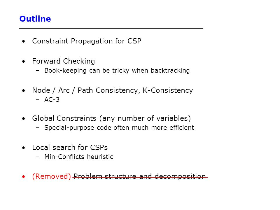 Outline Constraint Propagation for CSP Forward Checking